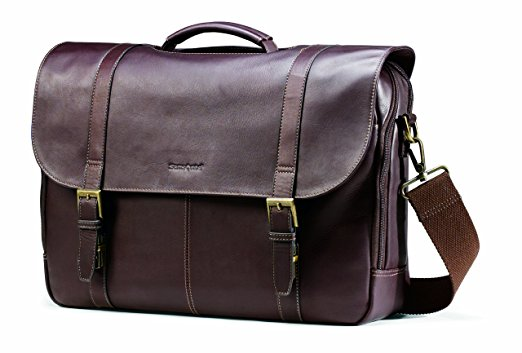 Samsonite Colombian Leather Flap-Over Laptop Messenger Bag 1