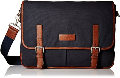 Fossil Graham East West Fabric Navy Messenger Bag 1