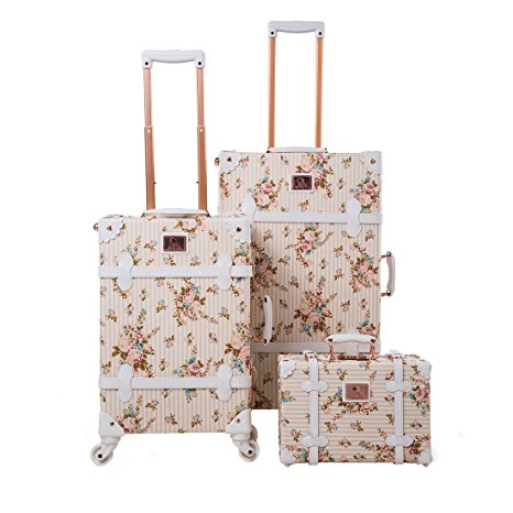 UNIWALKER Women Floral Pu Leather - one of the best vintage inspired/style luggage